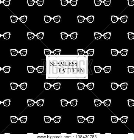 Seamless pattern with sunglasses. Hand drawn graphic fashion sketch. Black and white doodles background. Textile print wrapping paper. Trend graphic glamour fashion seamless pattern in vogue style.