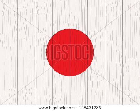 flag of Japan painted on a wooden wall