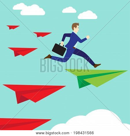Business Concept As A Businessman Is Jumping Up From A Red Rocket Paper To A Green One. It Means Changing Or Shifting From Wrong Methods Ways Standards To The Right Or Accurate Ones.