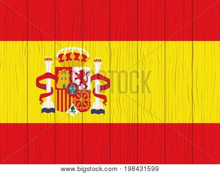 flag of Spain painted on a wooden wall