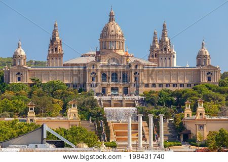 The building of the National Museum of Catalonia on the Plaza of Spain. Barcelona. Catalonia.