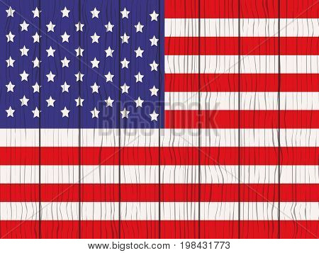 flag of USA painted on a wooden wall