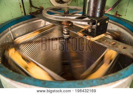 Old Hand-made automated Honey Extractor. Honey Extractor Beekeeping Equipment
