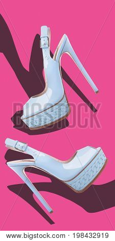 Blue sandals with high heels made of patent leather on a pink background