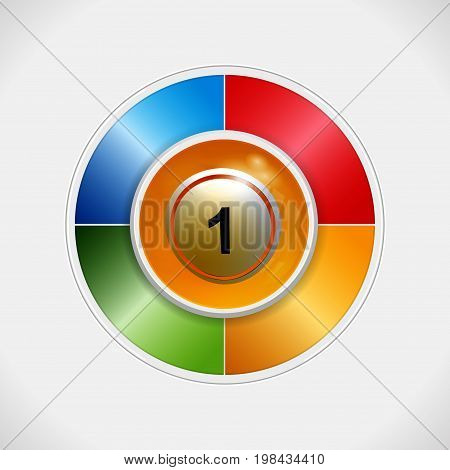 3D Illustration of Yellow Bingo Lottery Ball Over a Four Colours Disc