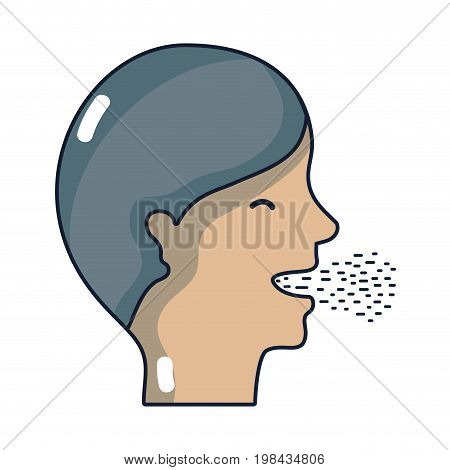 man with cold and sore throat sickness vector illustration