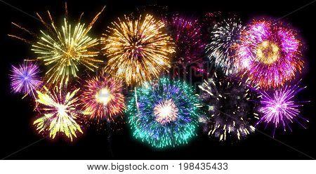 Fireworks display of multicolor vibrant pyrotechnic explosives on black sky background. Illustration.
