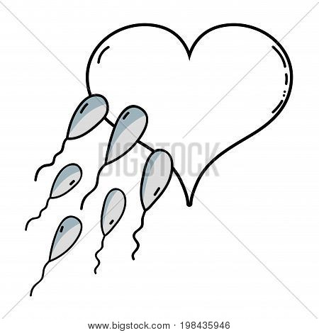 line spermatozoon reproduction fertilizing ovum in heart shape vector illustration