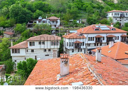 Aerial view with traditional bulgarian houses with terrace from the Revival period in Melnik town, Bulgaria