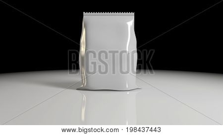 3D Rendering Of Vertical Sealed Empty Plastic Foil Bag For Package Design With Serrated Edge Close U