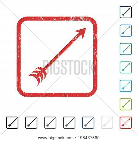 Arrow rubber watermark in some color versions.. Vector icon symbol inside rounded rectangle with grunge design and dust texture. Stamp seal illustration, unclean sign.