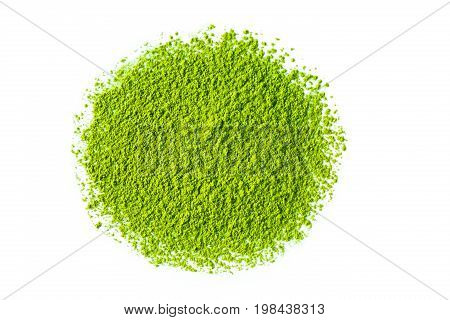 Heap of matcha green tea powder on white background view from above.