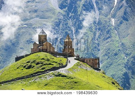 Gergeti Trinity Church (Tsminda Sameba), Holy Trinity Church near the village of Gergeti in Georgia, under Mount Kazbegi