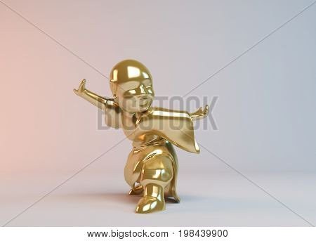 Golden 3D Boy Fighting 3D Rendering On White Background