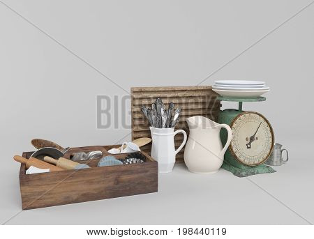 3D Kitchen Tools With Wooden Cutting Board