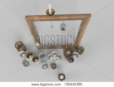 Candles With Wooden Frame Top View