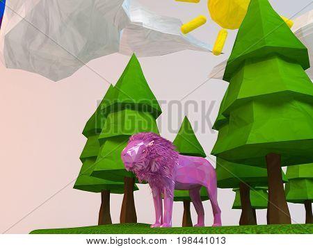 3D Lion Inside A Low-poly Green Scene