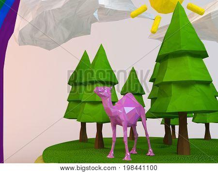 3D Camel Inside A Low-poly Green Scene