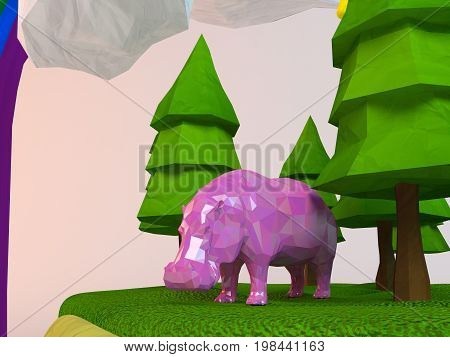 3D Hippo Inside A Low-poly Green Scene