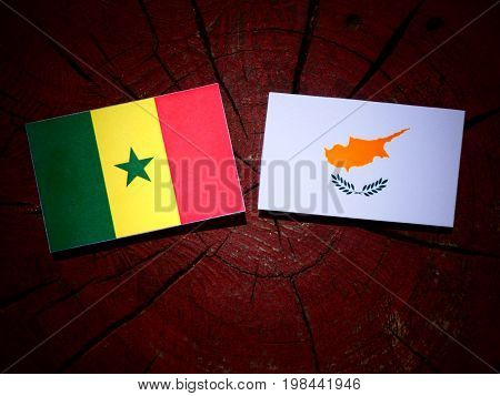 Senegal Flag With Cypriot Flag On A Tree Stump Isolated