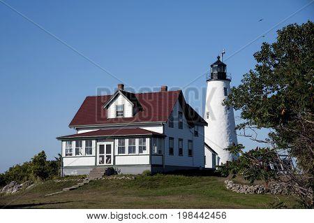 Baker's Island lighthouse and keeper's house in Salem Massachusetts.