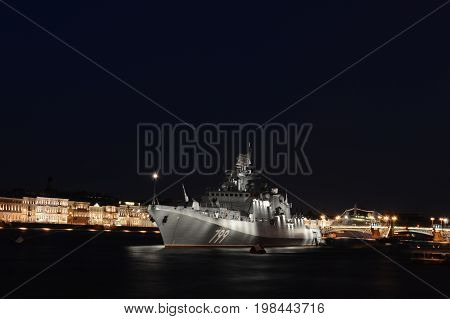 Russian Navy battle ship in the center of Saint-Petersburg in naval parade 2017
