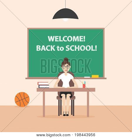Back to school. Flat style. Teacher woman with glasses sitting at the table. Thematic illustration.