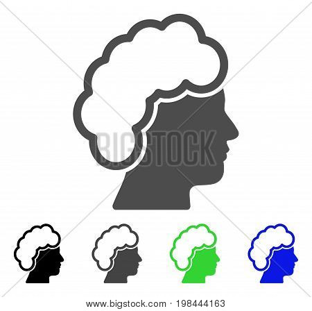 Blonde Profile flat vector illustration. Colored blonde profile, gray, black, blue, green pictogram variants. Flat icon style for web design.