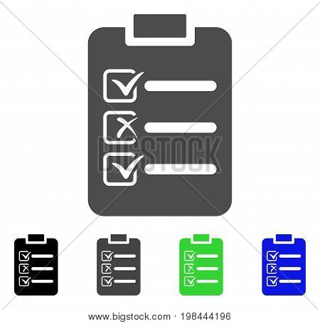 Check List flat vector illustration. Colored check list, gray, black, blue, green icon versions. Flat icon style for application design.