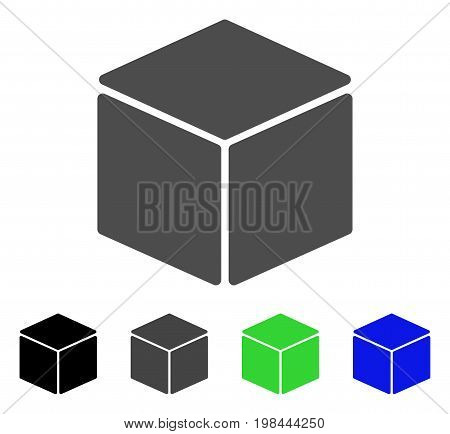 Cube flat vector pictogram. Colored cube, gray, black, blue, green pictogram versions. Flat icon style for application design.