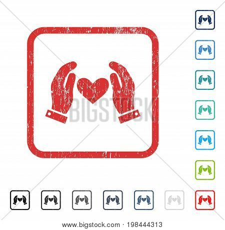 Love Heart Care Hands rubber watermark in some color versions.. Vector pictogram symbol inside rounded rectangle with grunge design and dirty texture. Stamp seal illustration, unclean emblem.