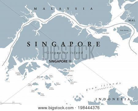 Singapore political map with English labeling. Republic and sovereign state in Southeast Asia. Sometimes called Lion City, Garden City or Little Red Dot. Gray illustration on white background. Vector.