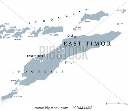 East Timor or also Timor Leste political map with capital Dili. English labeling. Democratic republic and sovereign state in Maritime Southeast Asia. Gray illustration on white background. Vector.