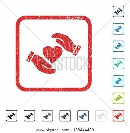 Love Heart Care Hands rubber watermark in some color versions.. Vector icon symbol inside rounded rectangular frame with grunge design and scratched texture. Stamp seal illustration, unclean emblem.