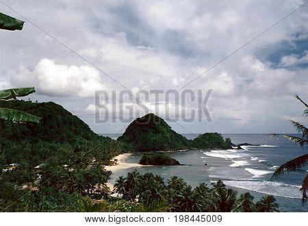 A view of the coast of Tutuila Island, in American Samoa.