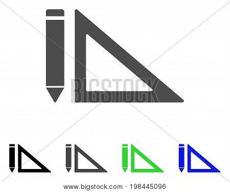 Project Design flat vector illustration. Colored project design, gray, black, blue, green pictogram versions. Flat icon style for web design.