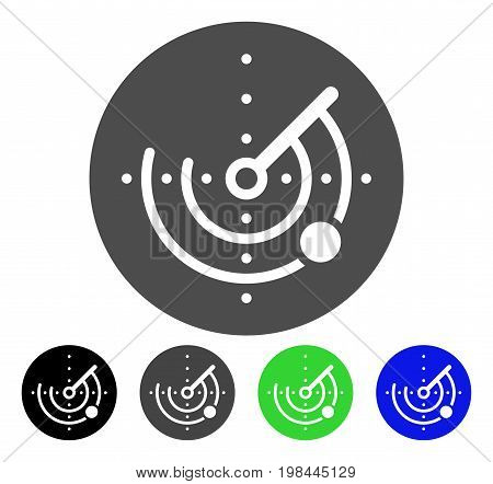 Radar flat vector pictogram. Colored radar, gray, black, blue, green pictogram variants. Flat icon style for application design.