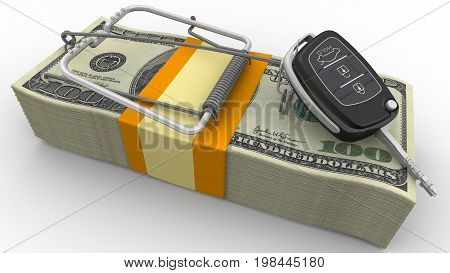 Financial risk when buying a car. Mousetrap from pack of American dollars with bait as flip car ignition key. Isolated. 3D Illustration