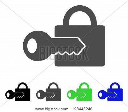 Registration Key flat vector pictogram. Colored registration key, gray, black, blue, green pictogram variants. Flat icon style for graphic design.