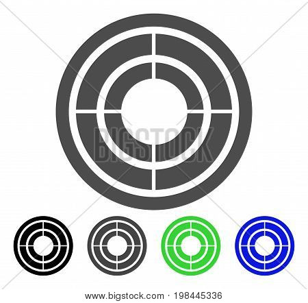 Target flat vector pictogram. Colored target, gray, black, blue, green icon versions. Flat icon style for application design.