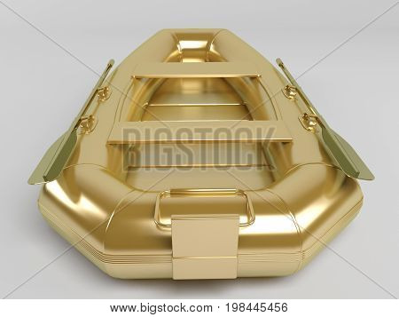 Golden 3D Object Isolated On White