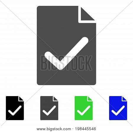 Valid Agreement Page flat vector icon. Colored valid agreement page, gray, black, blue, green pictogram variants. Flat icon style for web design.