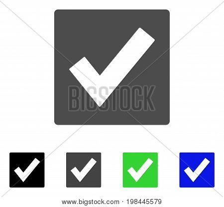 Valid flat vector illustration. Colored valid, gray, black, blue, green icon versions. Flat icon style for graphic design.