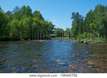 Smal mountain river Kika. Republic of Buryatia Russia  summer nature  travel