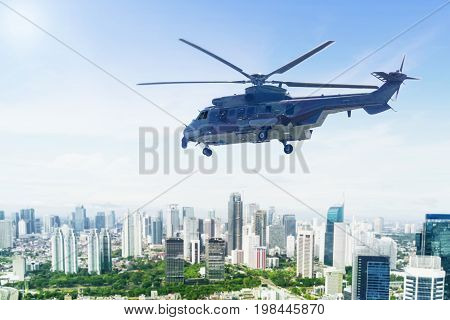 Image of army helicopter hovering over downtown while doing patrols