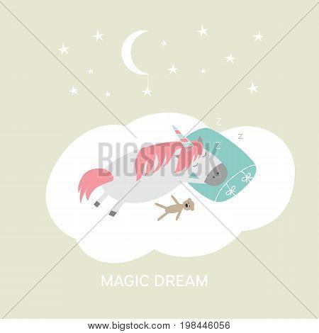 Cute cartoon hand drawn sleeping unicorn illustration. Vector magic dreams card. Little horse sleep on cloud with moon and stars.