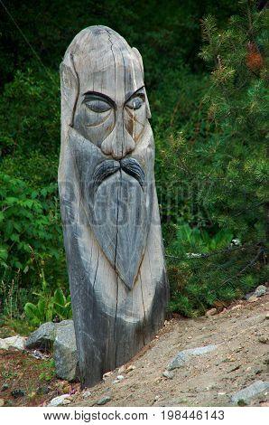 Wooden idol for the ritual.baikal buryatia Russia  summer nature  travel