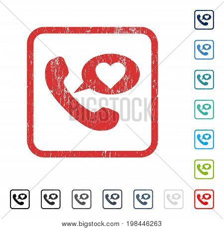 Love Phone Message rubber watermark in some color versions.. Vector pictogram symbol inside rounded rectangular frame with grunge design and dust texture. Stamp seal illustration, unclean sticker.