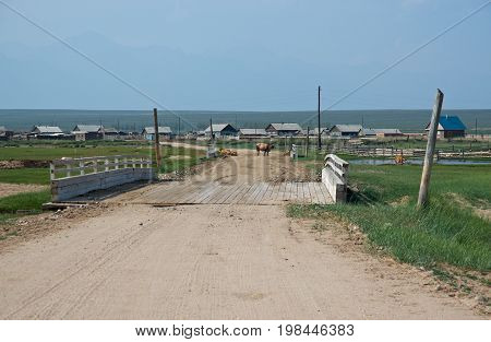 Old rural road Barguzin valley Buryatia Russia.