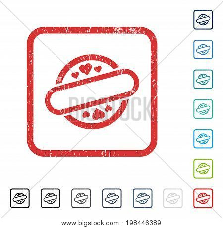 Love Stamp Seal rubber watermark in some color versions.. Vector pictogram symbol inside rounded rectangular frame with grunge design and dirty texture. Stamp seal illustration, unclean sign.